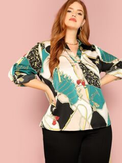 Plus Chain Print V Neck Blouse