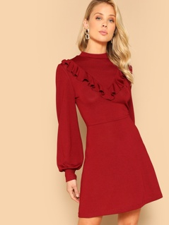 Ruffle Trim Bishop Sleeve Fit & Flare Dress