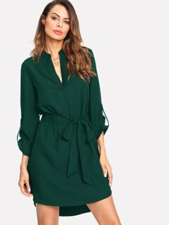 V-cut Neck Rolled Tab Sleeve Curved Hem Dress