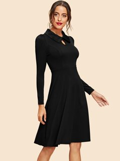 Keyhole Front Collar Neck Fit & Flare Dress