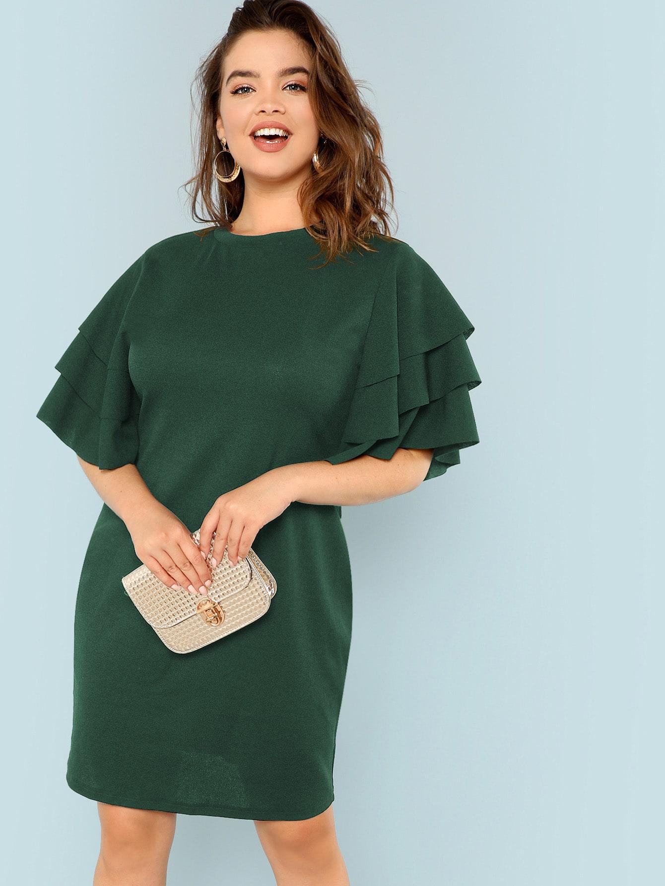 Plus Mock Neck Flutter Sleeve Bodycon Dress | SHEIN