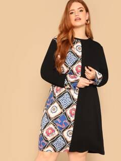 Plus Scarf Print Buttoned Cuff Dress
