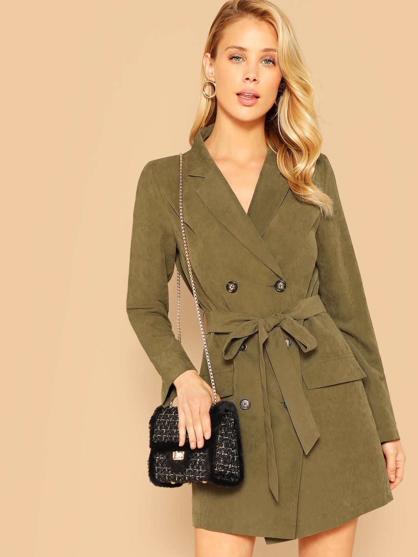 Купить Двубортное длинное пальто с зубчатым воротником и поясом, Allie Leggett, SheIn