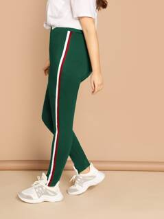 Plus Striped Tape Side Leggings