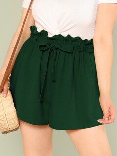 Plus Paperbag Waist Solid Belted Shorts