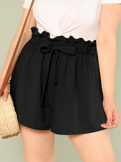 Plus Solid Paperbag Waist Shorts