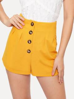 Button Front High Waist Solid Shorts
