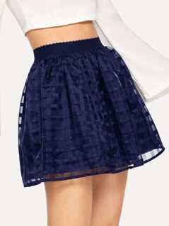 Elastic Waist Grid Mesh Overlay Skirt