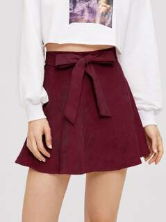 Self Belted Solid Flare Skirt