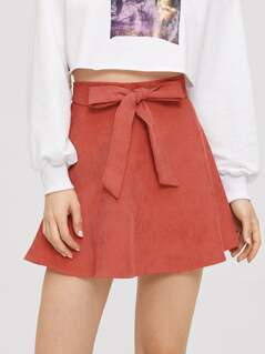 Bow Tie Front Flare Corduroy Skirt