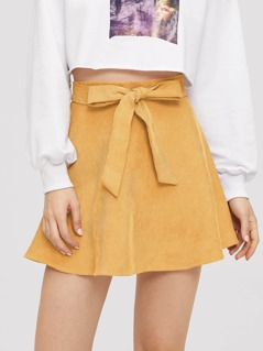 Self Belted Flared Corduroy Skirt