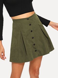 Button Up Boxed Pleated Skirt