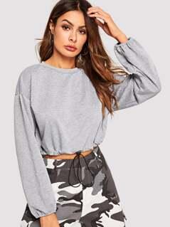 Drawstring Hem Heathered Grey Crop Pullover