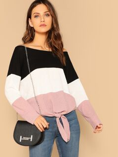 Boat Neck Cut-and-sew Knot Hem Waffle Knit Top