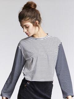 Striped Print Crop Tee
