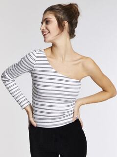 One Shoulder Rib-knit Form Fitting Striped Tee