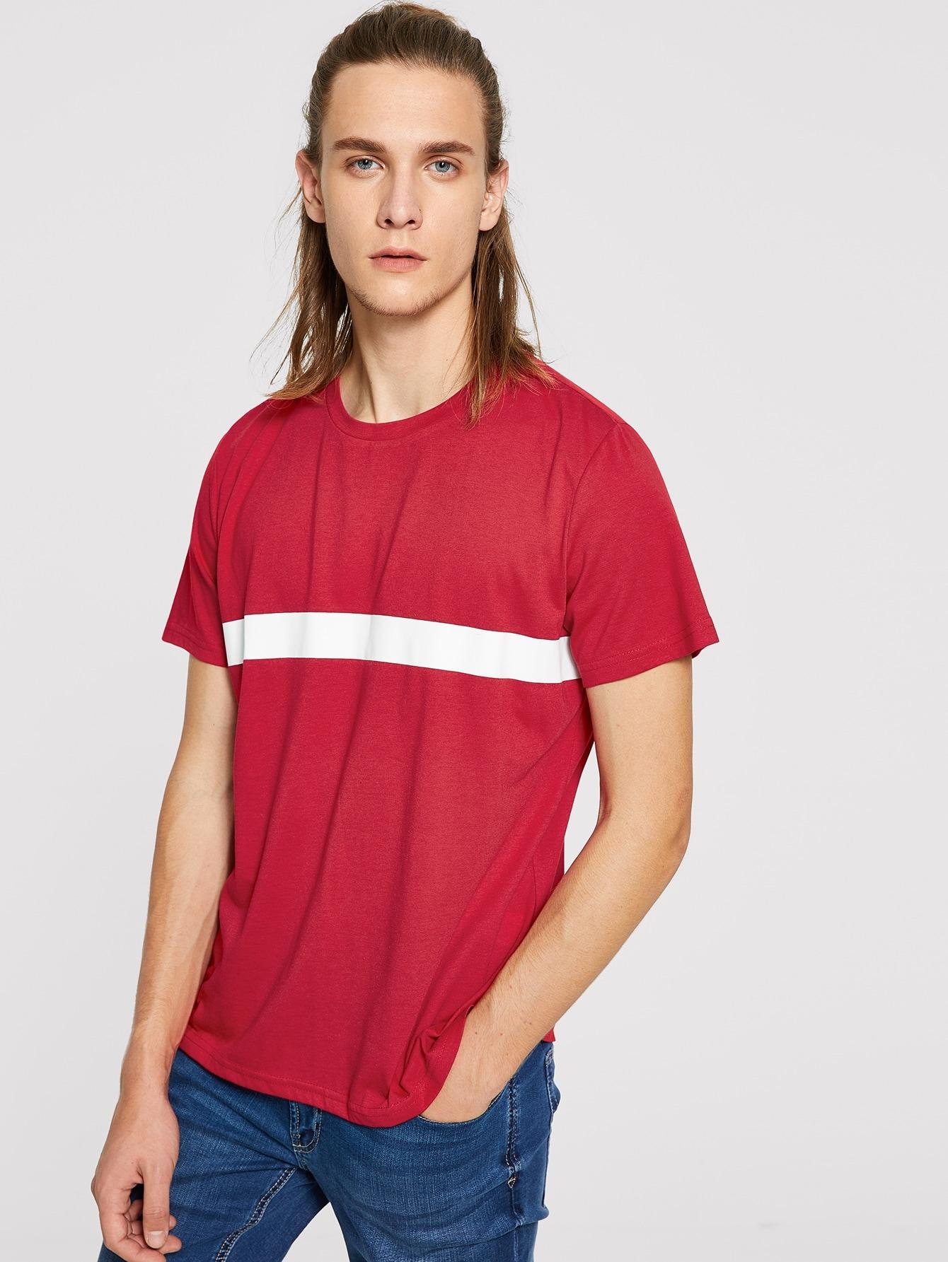 Купить Мужская футболка в полоску с коротким рукавом, EGOR, SheIn