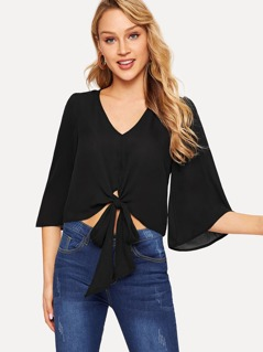 Bell Sleeve Knot Hem Crop Top