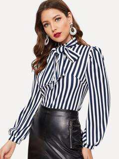 Tie Neck Puff Sleeve Striped Blouse