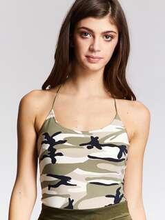 Camo Print Slim Fitted Halter Bodysuit