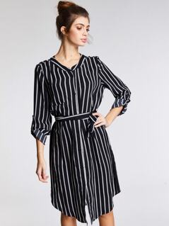 Roll Up Sleeve Striped Curved Hem Belted Shirt Dress