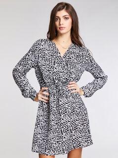 Surplice Neck Elastic Waist Leopard Dress