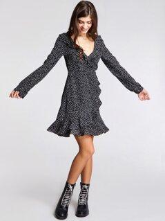 Asymmetrical Ruffle Trim Raindrop Print Dress