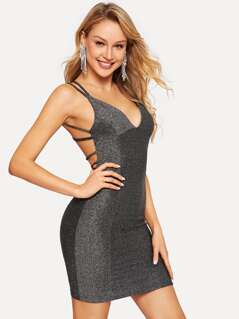 Strappy Backless Fitted Glitter Cami Dress