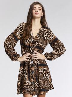 V-neck Leopard Print Single Breasted Dress