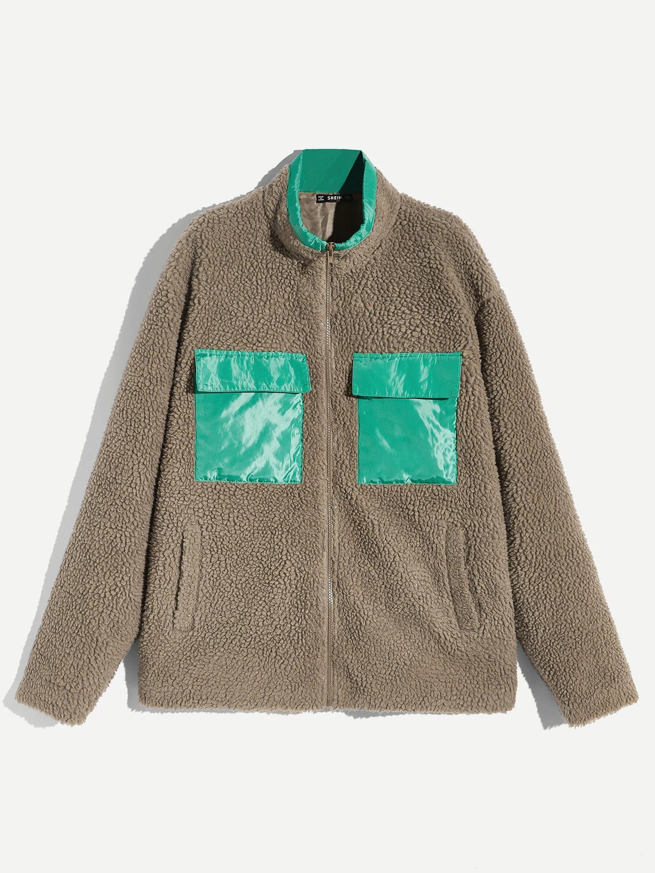 Купить Мужская контрастная куртка тедди на молнии с карманом, null, SheIn