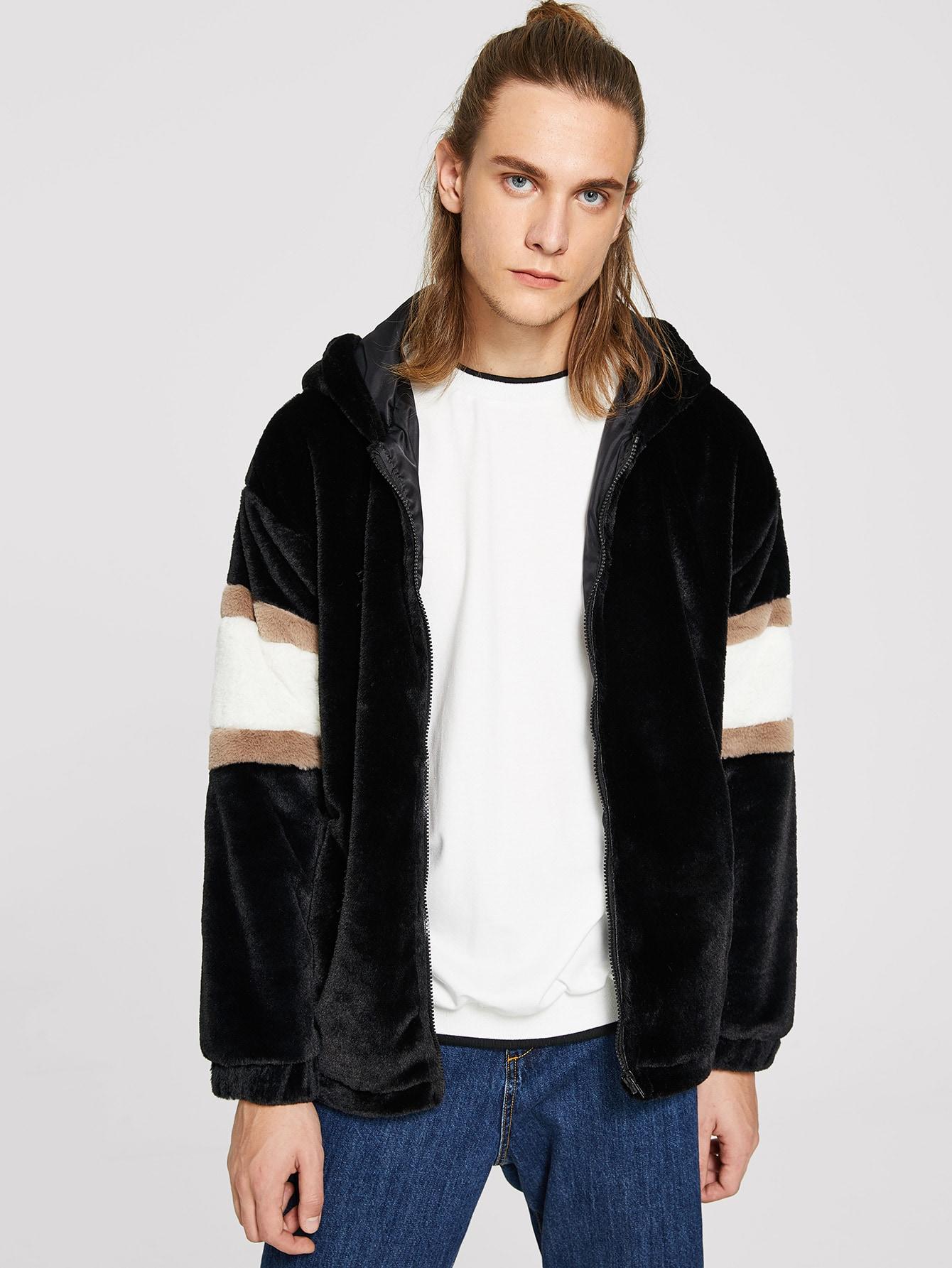 Купить Мужская контрастная пушистая куртка на молнии с капюшоном, EGOR, SheIn