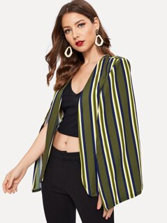 Cape Sleeve Vertical Striped Coat
