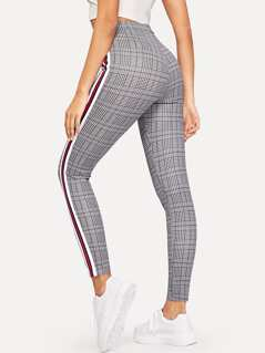 Elastic Waist Striped Tape Side Glen Plaid Pants