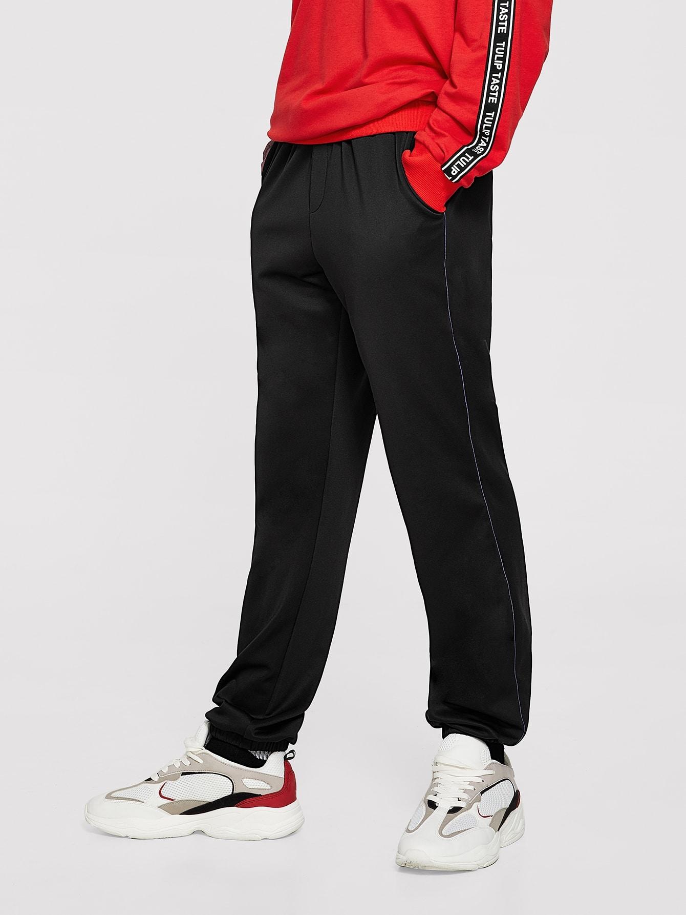 Купить Мужские контрастные брюки с упругой талией, EGOR, SheIn