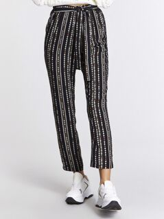 Tribal Print Self Belted Pants