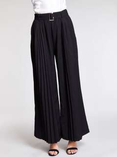 Pleated Detail Belted Solid Wide Leg Pants
