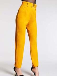 Slant Pocket Solid Belted Straight Leg Utility Pants