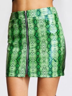 Zip Up Snakeskin Print PU Skirt