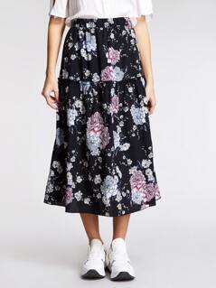 Frilled Trim Floral Print Skirt