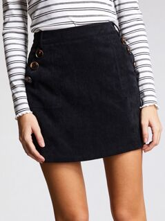 Zip Back Button Embroidered Corduroy Skirt
