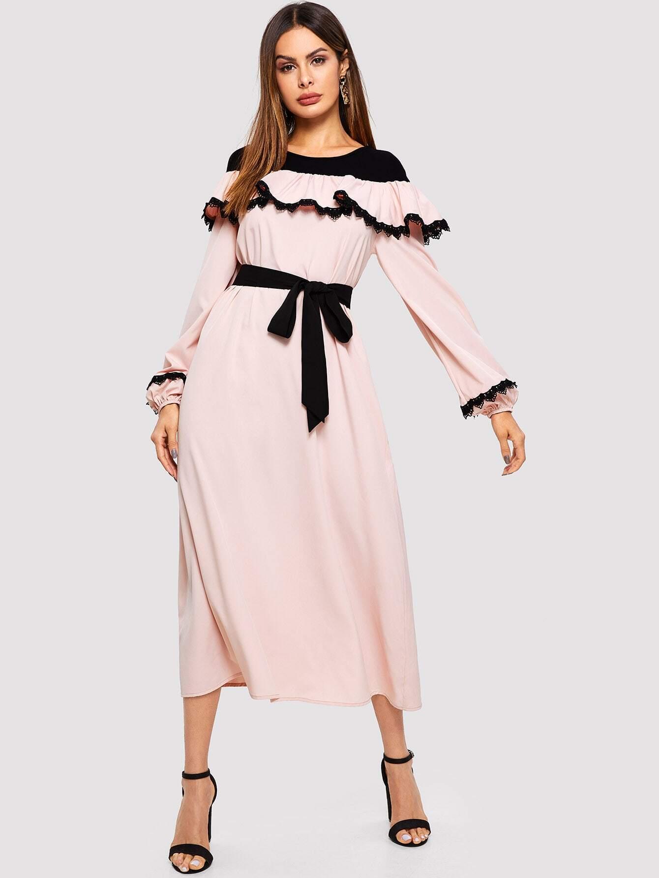 Купить Платье с кружевной аппликацией, Andy, SheIn