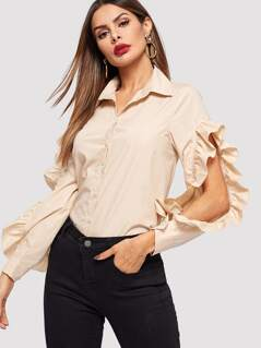 Cut-out Ruffle Trim Sleeve Shirt