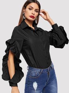 Ruffle Trim Cut-out Solid Shirt