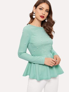 Pearls Beaded Solid Peplum Top