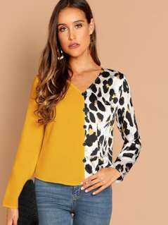 Cut-and-sew Button Up Leopard Blouse