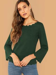 Scallop Edge Bell Sleeve Blouse