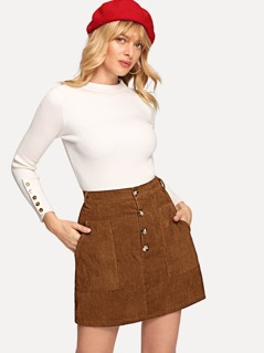 Button Front Pocket Detail Corduroy Skirt