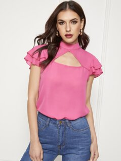 Keyhole Front Layered Ruffle Top