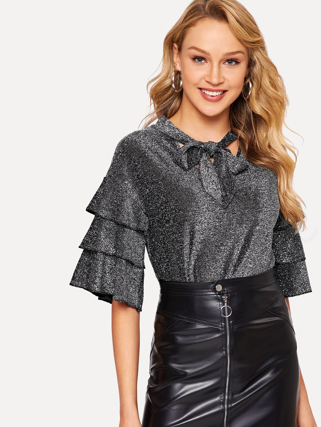 Купить Блестящая блуза с завязкой на шее и оригинальным рукавом, Sasa, SheIn