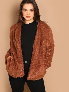 Plus Open Front Solid Teddy Coat